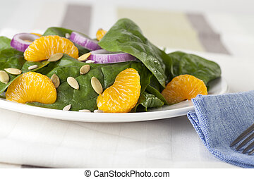 Fresh Spinach with mandarin oranges, red onions and a light orange honey dressing.