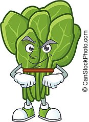 Spinach mascot cartoon character style with Smirking face