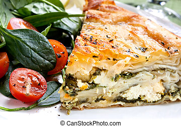 Spinach Pie - Delicious spinach and feta cheese pie, with...
