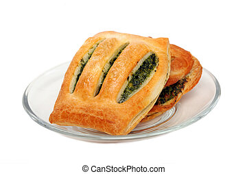 Spinach pie on a plate