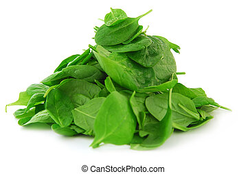 Pile of spinach isolated on white background