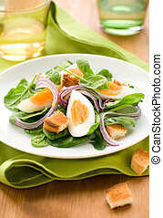 spinach salad - salad with spinach,eggs and croutons