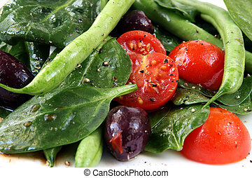 Spinach Salad - Spinach salad with green runner beans, ...