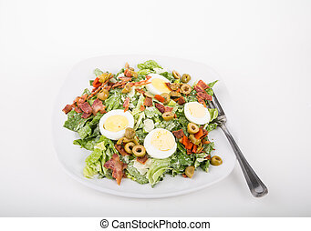 Spinach Salad with Eggs Bacon and Olives