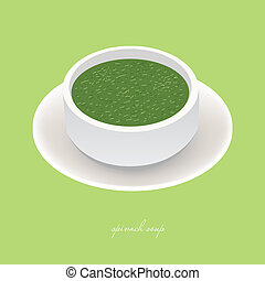 spinach soup - tasty spinach soup in white bowl on the green...
