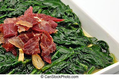 Spinach stew with ham and garlic,