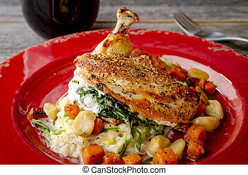 Spinach Stuffed Chicken with Butternut Squash