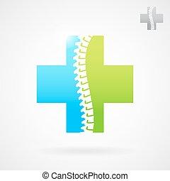 spinal, logo, zeichen, zentrieren, klinik