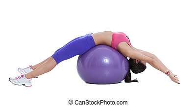Spinal stretch on the swiss ball - Sit on an exercise ball,...