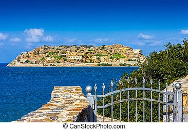Spinalonga island at blue water of Crete, Greece - Island of...