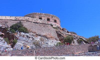 Spinalonga venetians fortress with tourists, Crete