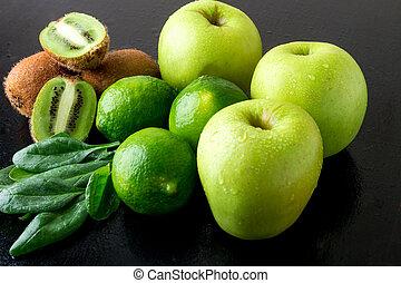 spinazie, kiwi., houten, appel, ingredienten, voedsel., achtergrond., detox., groene, vruchten, kalk, black , smoothie., gezonde