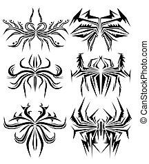 spindel, tatuera, abstrakt