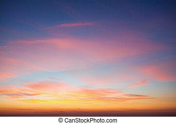 spindrift, 空, 雲, 日没, 前に