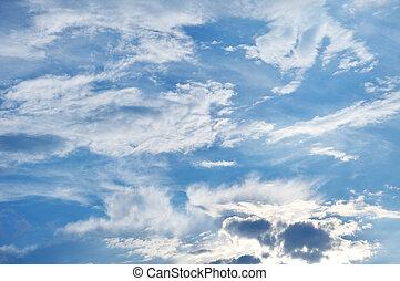 spindrift, himmelsgewölbe, flaumig, wolkenhimmel