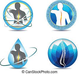 Human spine, vertebral column health care design. Abstract medical symbols.