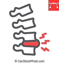 Spine pain line icon, backache and backpain, herniated disc vector icon, vector graphics, editable stroke outline sign, eps 10