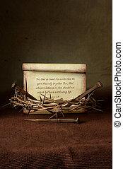 spine, unghia, bibbia, corona, verso