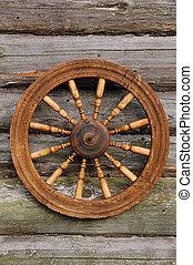 spinnend wiel, op, de, blockhouse, muur