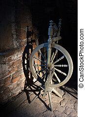 spinnend wiel, op, de, oud, zoldertjes