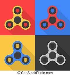 Spinner. A modern anti-stress toy in a flat style. A toy for hands and fingers. A set of spinners on colorful backgrounds. A flat shadow. Bearing system