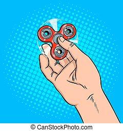 Spinner in hand pop art vector illustration