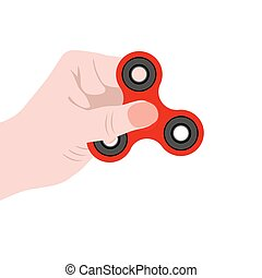 Spinner in the hand, a toy for stress removal, flat design...