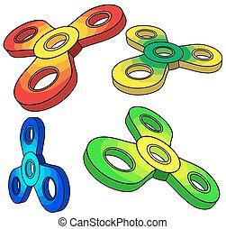 spinner., isometric, vektor, sæt, fidget