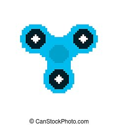 Spinner pixel art. Fidget finger toy pixelated. Anti stress...