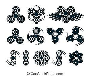spinner, set, kentekens, hand, iconen