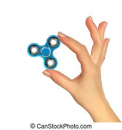 spinner., silhouette, illustration, main, réaliste, vecteur, 3d