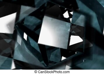 Spinning and Pulsing Black and White Geometric Shapes
