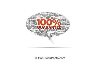 Spinning animated 100% Guarantee Speech Bubble.
