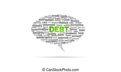 Debt - Spinning animated Debt Speech Bubble.