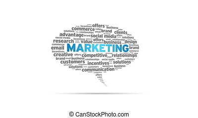 Marketing - Spinning animated Marketing Speech Bubble.
