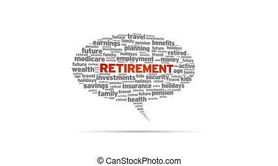Retirement - Spinning animated Retirement Speech Bubble.