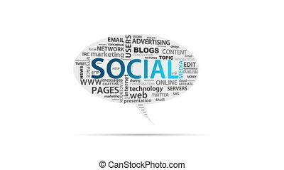 Social Media - Spinning animated Social Media Speech Bubble.