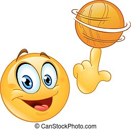 Spinning ball emoticon - Emoticon spinning a basketball on...