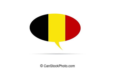 Spinning Belgium Flag Speech Bubble