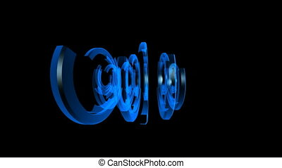 Spinning Blue Nested Half Circles