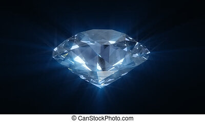 Spinning blue shining diamond - looped 3d animation