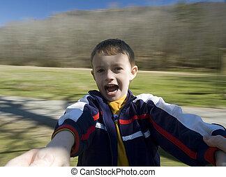 spinning boy