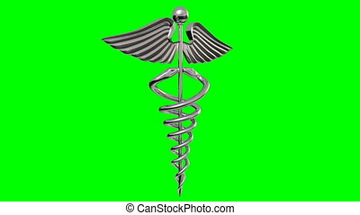 (Stock Video 1080 HD.) 16 secs and has a seamless loop if set to repeat. It's a Chrome caduceus Rotating over a green background.