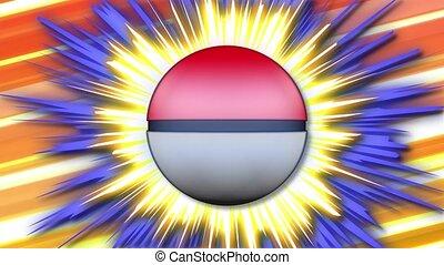 Spinning cartoon pokeball