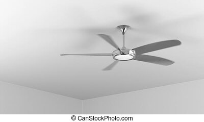 Spinning ceiling fan in the room