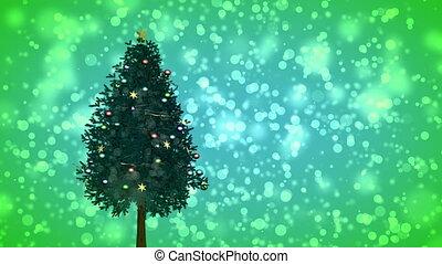 Spinning Christmas tree on green
