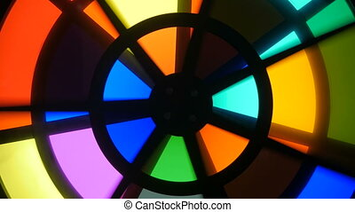 Spinning circles with multicolors glasses - sectors change...