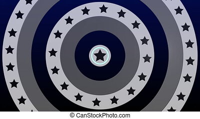 Animation of spinning circles with stars and stripes over multiple rows of spots and blue circles moving in hypnotic motion in background. Colour light and movement concept digitally generated image.