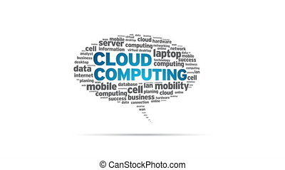 Cloud Computing - Spinning Cloud Computing Speech Bubble
