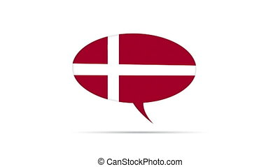 Denmark Flag Speech Bubble - Spinning Denmark Flag Speech...